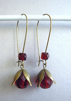 VINTAGE ART DECO FACETED RUBY RED GLASS LONG SNOWDROP FLOWER EARRINGS old beads