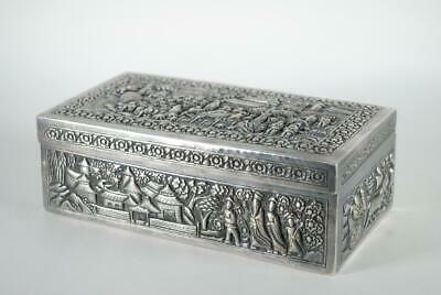 Important Antique Chinese Silver Carved Hinged Box w Figures, Mark, 503g