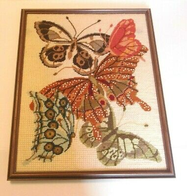 Vintage Handmade Completed Angels Cross Stitch Needlepoint Butterflies Picture