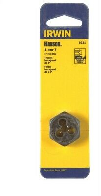 Irwin  Hanson  High Carbon Steel  Metric  Hexagon Die  7mm-1  1 pc.