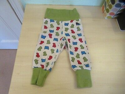6-9m: Lovely soft trousers: Stretchy waistband: Green/red/blue bears: P.O.P