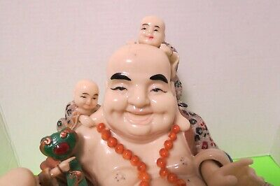 Vintage Asian Chinese Solid 15lb PolyResin Figurine Resting Buddha 5 Children