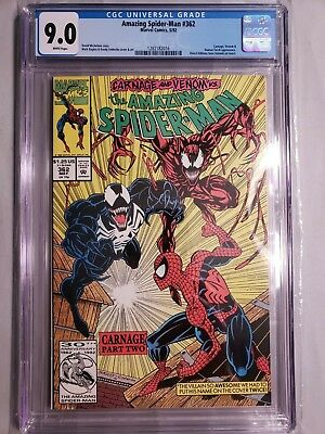 Amazing Spider-Man #362 CGC 9.0 NM Venom & 1st CARNAGE Part II of 361 & 363 Key!
