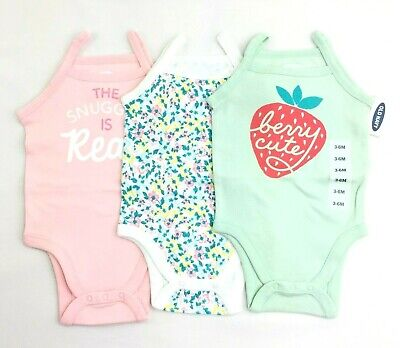 NWT Old Navy Infant Girl Tank One Piece Bodysuit SET OF 3 Pink Green Floral 3-6M