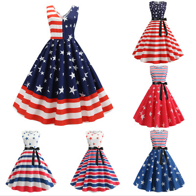 Independent Day Women's American Flag Swing Sleeveless Bow Tied Up A-Line Dress