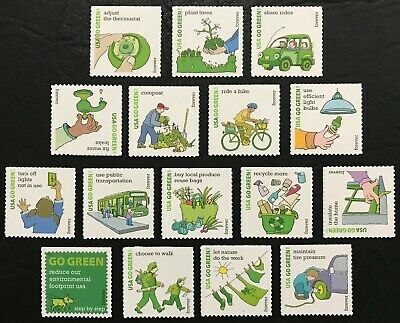 2011 Scott #4524 - Forever - GO GREEN - RECYCLE - Set of 16 Singles - Mint NH