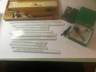 $ Reduced: Vintage drafting tools, (13) Leroy K+E Lettering Templates + etc.