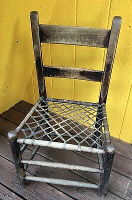 Antique Chair Wooden w/ Woven Lattice Leather Seat Rustic Farmhouse Country