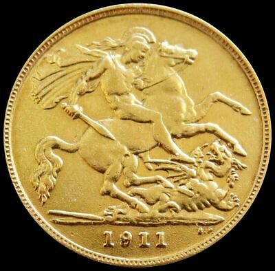 1911 Great Britain 1/2 Sovereign 3.994g  w/ very rare overdate AU