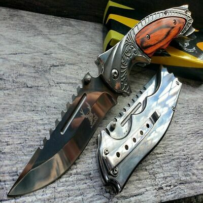 "9"" Tactical Hunting Pocket knife Open folding Blade Engraved wood Handle Silver"