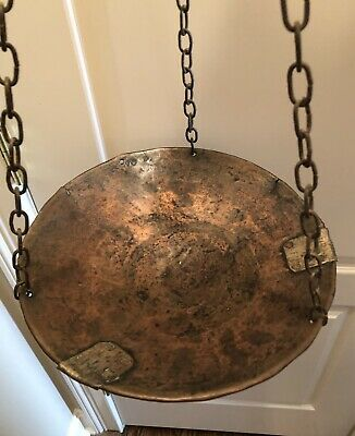 Antique Brass Hanging Balance Scale w/  Hand Hammered Copper Pan