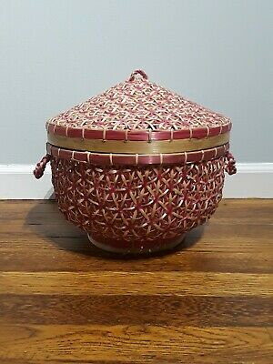 Large Woven Basket With Lid Pink Tan Rattan Bamboo