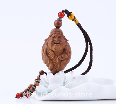 55MM Chinese Sandalwood HandCarved Mammon Money God Wealth Yuanbao Lucky Pendant