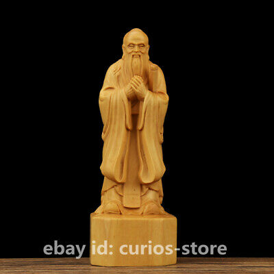 """5.9"""" Fine Chinese Box-wood Hand-carved Confucianists Kong Sage Confucius Statue"""