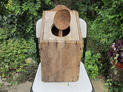 ANTIQUE PRIMITIVE OLD WOODEN BIG WALL HANGING KITCHEN SPOON BOX WITH SPOON 19th