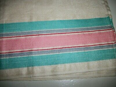Vintage Linen Tea Kitchen Towel NWT NOS unused pink turquoise stripe red grey
