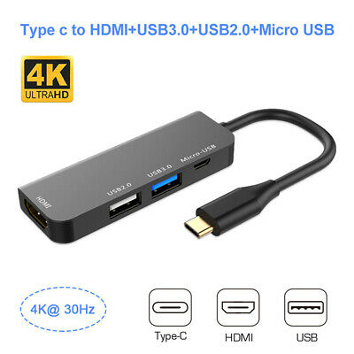 4 in 1 USB C Hub Type C Adapter Dock with 4K HDMI PD Charge for MacBook Laptop