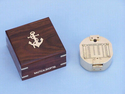 Solid Brass Vintage Style Brunton Compass With Wooden Box Christmas Gifting Item