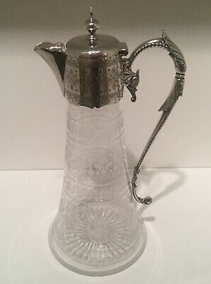 Good Quality Edwardian Silver Plate and Etched Glass Claret Jug c.1900