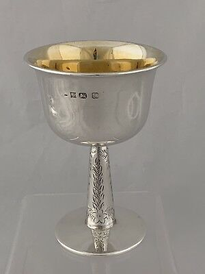 Solid Silver Wine Cup Or Goblet 1979 Birmingham Heavily Gilded Inside