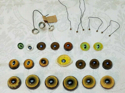 Vintage Lot 30 Glass Eyes Taxidermy/Doll/Craft Solid Glass Blown Art Oddities