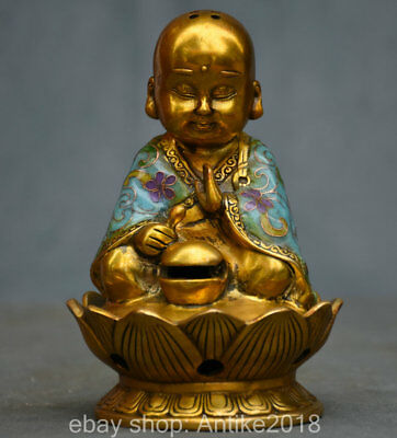 14CM Xuande Marked Old China cloisonne Copper Lotus Monk Buddha Statue Censer