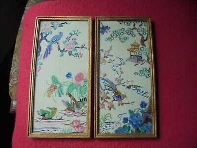 Pair Of Beautiful Vintage/Antique Framed Embroidery Pictures - Textiles