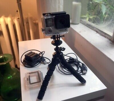 GoPro HERO4 Action Camera - Silver - Camcorder with Stand, Case & 4 Batteries!