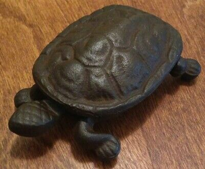 """Antique Cast Iron Turtle Match Holder Hinged Box for Fireplace or Stove 4.5"""""""