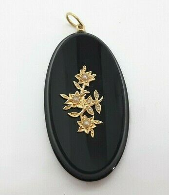 Antique Victorian Gold Onyx and Seed Pearl Mourning pendant