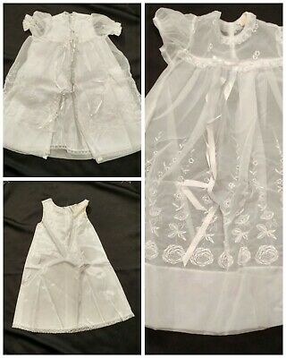 Vintage Christening Gown 3pc Baby Communion Dress Outfit 1960's nylon acetate