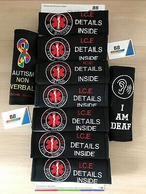 Customised Car Seat Belt Cover Pad,Diabetic/Autistic/Nut/Cochlear/ICE/Pacemaker