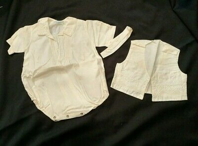 Baby Shirts Vest Communion Christening Outfit 1960's vintage white cotton handma