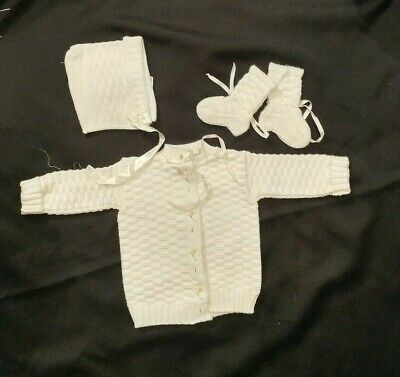 Beautiful Sears Vintage Sweater Booties Bonnet Christening Baby Communion Outfit
