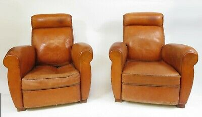 Antique Pair Vintage French Club Chair Tan Leather x 2 Chairs RARE