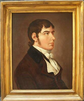 FINE EARLY 19th Century PORTRAIT YOUNG GENTLEMAN Antique Oil Painting