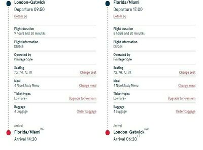 **Four return flights from London Gatwick to Miami - out 27JUL19 / back 14 AUG19