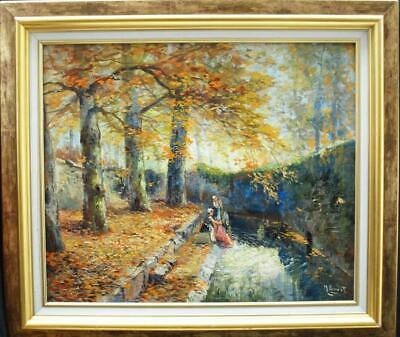 LARGE 19th Century FRENCH IMPRESSIONIST WOMEN WASHING  Antique Oil Painting
