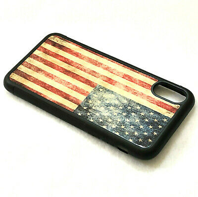 For iPhone X XS MAX XR - Hard TPU Gummy Rubber Slim Case Cover USA American Flag
