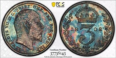 (4) Coin Box Set Great Britain 1908 Maundy Money PCGS 65PL 66PL Colorful Toning