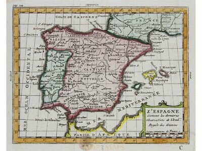 Spain Portugal antique map by Claude Buffier 1769