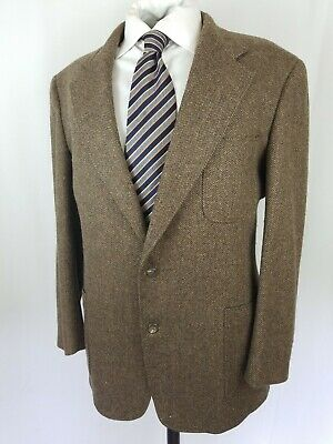 Vintage BROOKS BROTHERS Sport Coat 43R in Brown Herringbone TRAD Tweed Patch