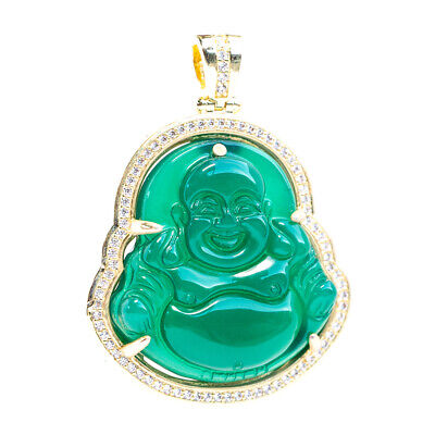 Small 14K Gold Iced Hip Hop Green Jade 5A CZ Bling Buddha Pendant Piece