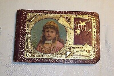 Late 1800's Antique Autograph Memory Album Book Girl with Tiara on Front