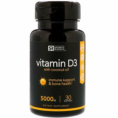 Vitamin D3 with Coconut Oil, 125 mcg (5000 IU), 30 Softgels - Sports Research