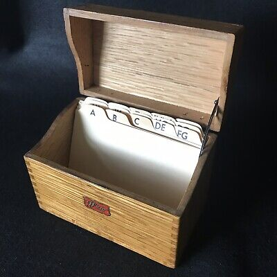 Vintage Dovetailed Hinged Wood Index Card Recipe Box 3x5 Dividers