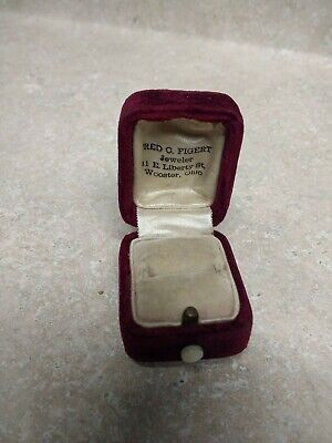 Antique Velvet Victorian Ring Box, Mother of Pearl Push Button Hinged