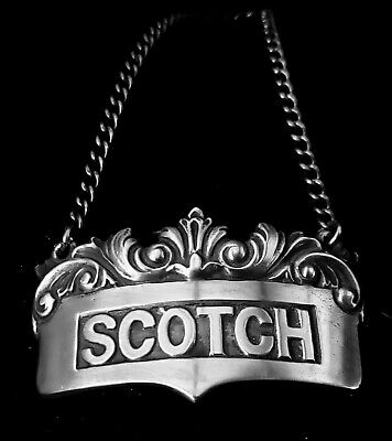 Art Deco American sterling decanter tag, scotch