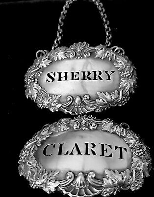 sterling silver decanter tags, Claret and Sherry, 1827