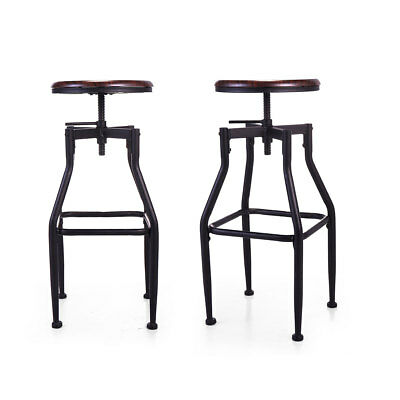 Height Adjustable Swivel Barstool Vintage Steel Frame Pub Chairs Backrest Double